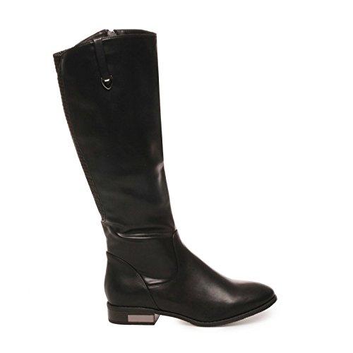 La Modeuse - Bottes femme grande taille aspect cuir Noir