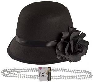 ILOVEFANCYDRESS Lady BLUMENTOPF Hut MIT Einer Plastik PERLEN Kette DER Hut IST IN SCHWARZ MIT Einer GROSSEN SCHWARZEN Blume - Blumentopf Fancy Dress Kostüm