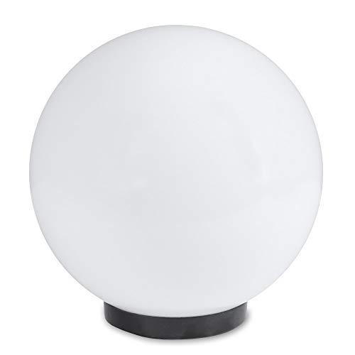 Kugelleuchte 20 cm Ø, weiße Gartenlampe, Außenleuchte, strahlend schöne Deko für Innen & Außen, Gartenbeleuchtung, Gartenkugel für Energiesparlampen E27 & LED - 230 V & 23W, Kugellampe mit IP44