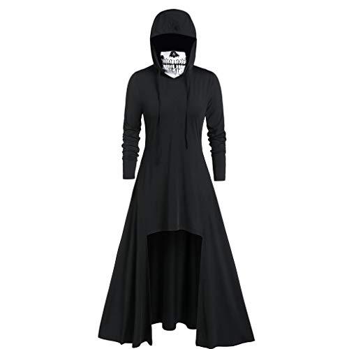 T-Shirt Damen Gothic Punk Langarm Hoodies Kleid Piebo Frauen Halloween Festliche Karneval Top Shirt Steampunk Kostüme Lange Jacken Pullover Schädel Masken mit Kapuzen Oberteile Freizeit Streetwear (Kleine Kostüm Kleiderschrank)