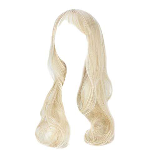 IILOOK Weibliche Lange lockige Haare große Welle Luft dünne Pony Birne Blumenkopfperücke gesetzt Mehrfarben optional Lange lose Welle synthetische Perücke lockige volle ()