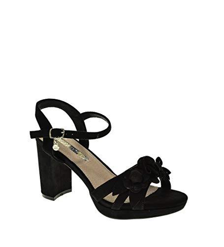 XTI 35044, Zapatos Tira Tobillo Mujer, Negro