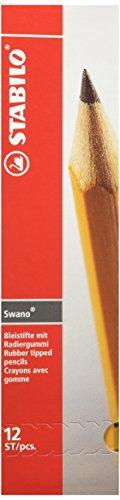 Bleistift mit Radiergummi - STABILO Swano in gelb - Härtegrad HB - 12er Pack