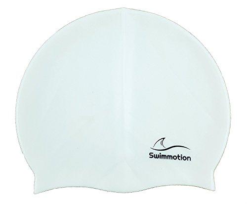 swimmotion | Gorro de baño/Natación (| Incluye Costes sueltas Entrenamiento Plan | para corta y pelo largo | antideslizante, muy elástico | perfecto para hombre y mujer, color Weiß, tamaño 22cm x 19cm