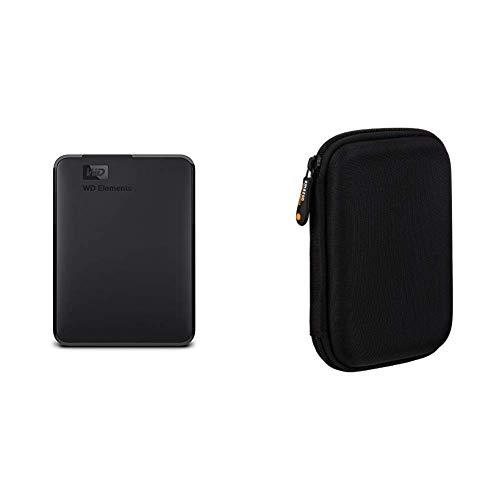 WD Elements Portable, Externe Festplatte - 1,5 TB - USB 3.0 - WDBU6Y0015BBK-WESN & AmazonBasics Schutzhülle für Externe Festplatten -