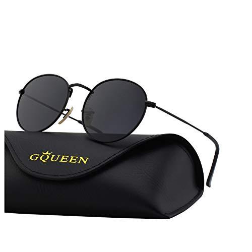 GQUEEN Occhiali da Sole Vintage rotondi Specchio Polarizzati con Protezione UV400 MFF7