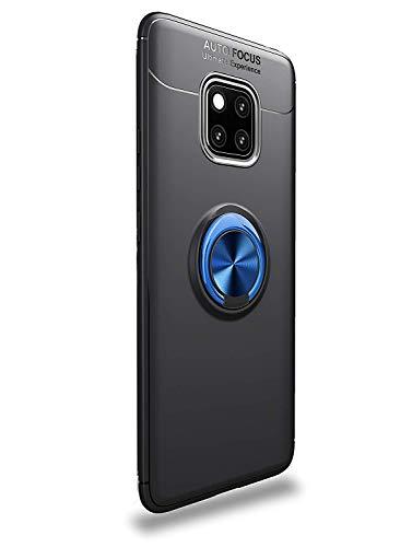 Shinyzone Hülle für Huawei Mate 20,Schwarz und Blau mit Ring 360 Grad Drehbarer Standfunktion,Ultra Dünn Weich TPU Stoßfest Schutzhülle Kompatibel mit Magnetischer Autohalterung (Chat Vedio)