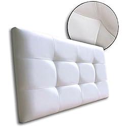 Ventadecolchones - Cabecero de Cama tapizado en Polipiel con capitoné Modelo Tablet Blanco y Medidas 151 x 70 cm para Camas de 135 ó 150
