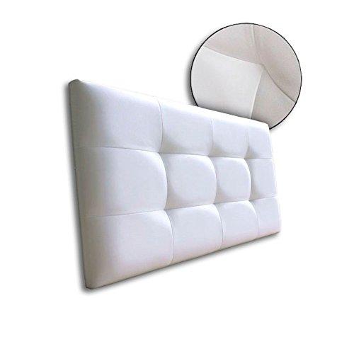 Ventadecolchones - Cabecero de cama tapizado en polipiel con capitoné modelo Tablet Blanco y medidas 106 x 70 cm para camas de 90 ó 105