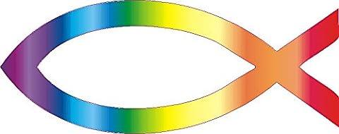 1 x Aufkleber Jesus Fisch Ichthys Fish Sticker Autoaufkleber Regenbogen Shocker
