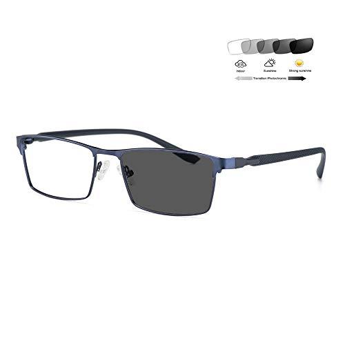 Eyetary Blaulichtfilter Lesebrille Herren Gaming Computer PC Brille photochrome Sonnenbrille mit stärke (+1,00 bis 4,00 Dioptrien) - Blendschutz/Flexible & biegsam TR90 Tempel,Blue,+1.0