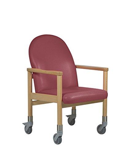 DEVITA Pflegestuhl Trippelstuhl Transportstuhl Seniorenstuhl LÃœBECK mit Rollen und Schiebegriff - Hygiene-Kunstleder - bis 120 kg - weinrot Hygiene-Kunstleder