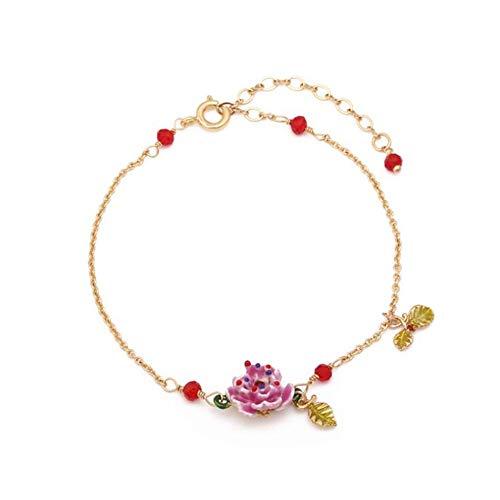 Garden Flower-serie (DSHW EinfachOriginal Lavendel Rose Flower Garden Series Armband Rhodiniert Glasiertes Armband)