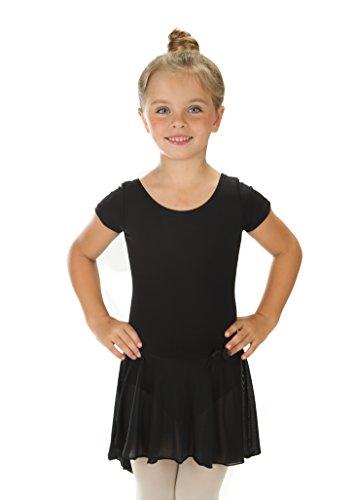 elowel Kinder Mädchen Rüschen Kurz Röcke Ballett Trikot Tanztrikot Gymnastikanzug Turnanzug Trikot (Größe 8-10 Jahre) Schwarz (10 Mädchen Gymnastik Turnanzug Größe)
