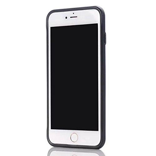 iPhone 7 Plus Coque, Lantier Refroidir Noir Métal brossé Design [Slim Fit] résistant aux chocs hybride double couche étui de protection Defender Armure pour iPhone 7 Plus (5,5 pouces) Noir White