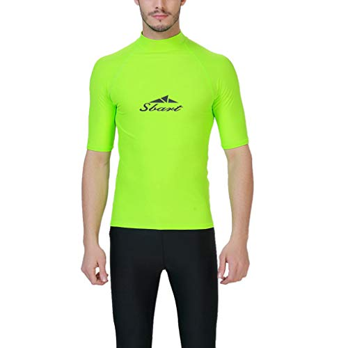 Sylar bañador de natación Hombre Ropa de baño Manga Corta Cuello Alto Traje de baño Traje de Surf...