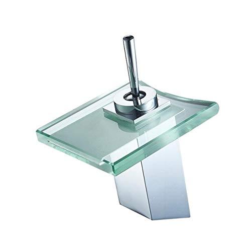 Messing-glas-brunnen (PUTTL Wasserfall Einhebelmischbatterie Waschbecken Wasserhahn Bad Küche Home Küche Glas Glas Brunnen Waschbecken Waschbecken Designer Hot/Cold Fauce)