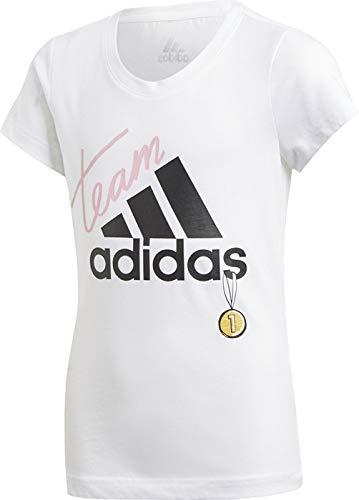 adidas Mädchen YG ID Graphic T-Shirt White/Black, 9-10 Years