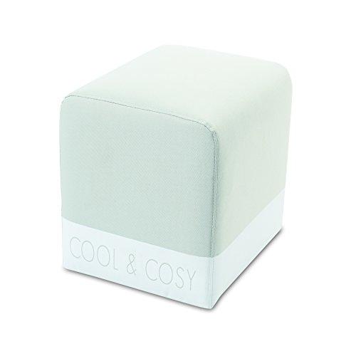 My Note Deco Pouf BORNE Beige/Blanc Tissus 100% Polyester, Structure Bois, Rembourrage Mousse
