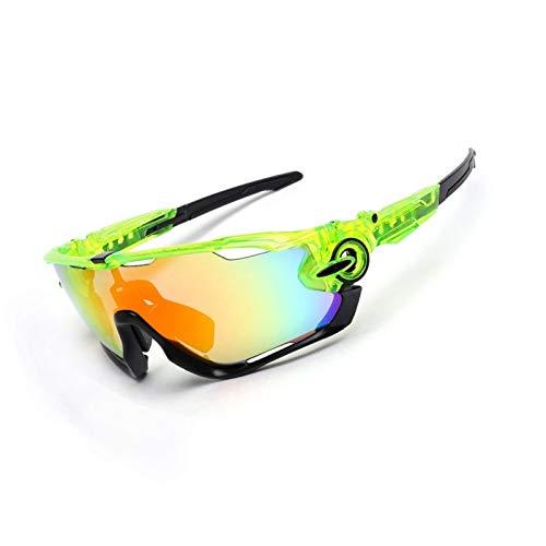 DOLOVE Motorrad Brille Polarisiert Sonnenbrille Schutzbrille Fanti Glanz Klar Grün Schwarz