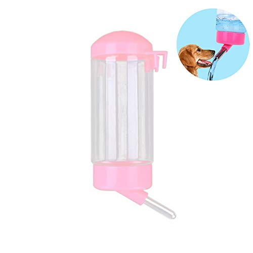 500 ML Pet Wasserflasche Hängen Kein Tropf Trinken Dispenser für Welpen Katze Kaninchen Kleine Tiere, automatisch Fütterung Wasser (Rosa)