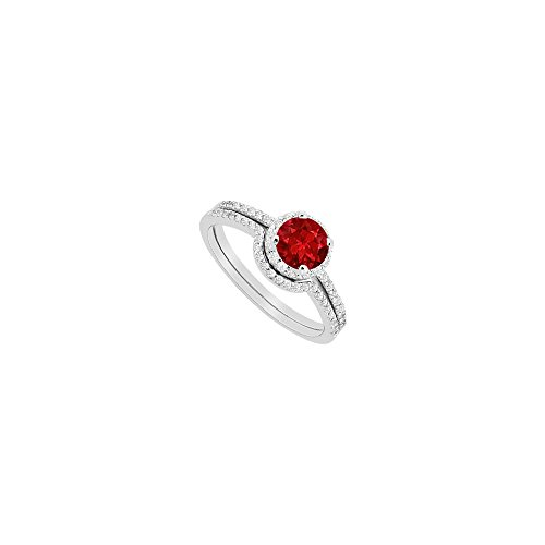 Created Ruby Halo Engagement Ring with CZ Wedding Band Sets in 14K White Gold 1.15 CT TGW
