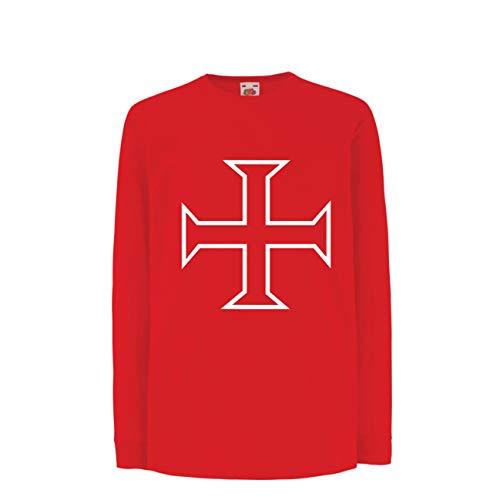 lepni.me Kinder-T-Shirt mit Langen Ärmeln Die Tempelritter Rotes Kreuz Arme Mitmenschen-Soldaten Christi (7-8 Years Rot Mehrfarben) (Mutter Natur Kostüm Muster)