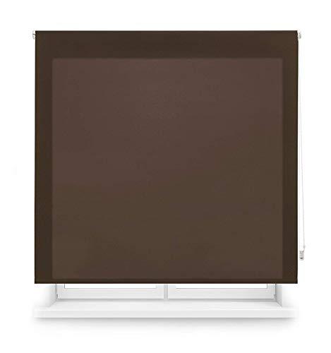 MERCURY TEXTIL Estor Enrollable translúcido Liso (Marron, 90x180cm)