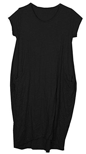Ladies Womens Italian Lagenlook Quirky Cap Sleeves Plain Cotton 2 Pocket Long Tunic Midi Dress One Size UK 8-21