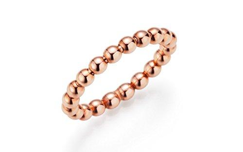 YDF Damen Kugelring flexibel elastisch dehnbar aus echtem 925 Sterlingsilber rosé-vergoldet Stapelring Beisteckring Sammelring Größe 58 ()