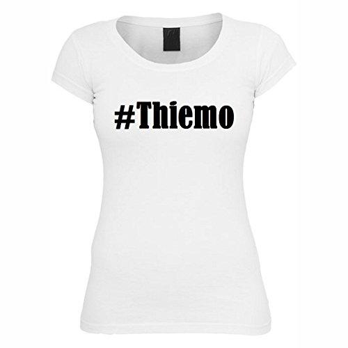 T-Shirt #Thiemo Hashtag Raute für Damen Herren und Kinder ... in den Farben Schwarz und Weiss Weiß