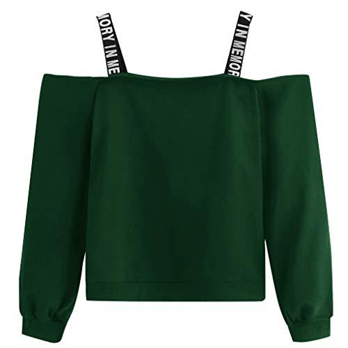 Kapuzenpullover Liusdh Ausverkauf Damen Sexy Off Shoulder Solide Lose Hoodie Sweatshirt Pullover für Mädchen(Green,Medium) -
