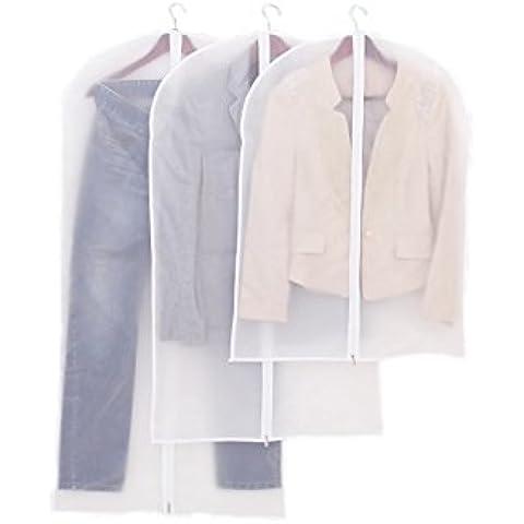 Homgaty confezione da 3trasparente vestiti Suit copertura antipolvere indumento, Borsa con Zip lunga e foro superiore per gruccia 3diverse dimensioni