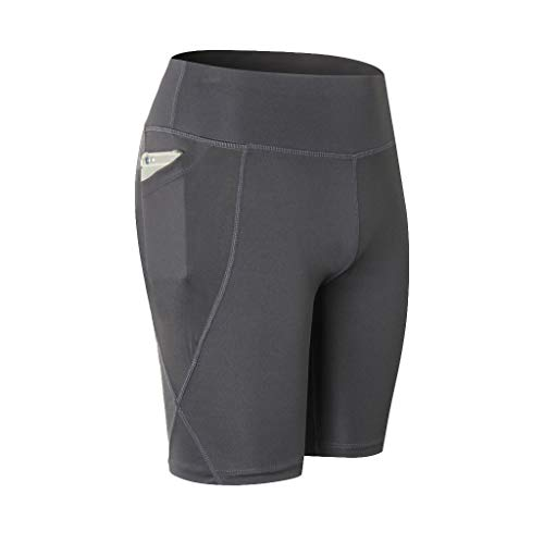WOZOW Damen Short Leggings Gamaschen Solid Basic Seitentasche Sport Hose Yoga Hosen Dünn Skinny Thigh Length Workout Laufhose Midi Stoffhose Trousers (M,Dark Grau)