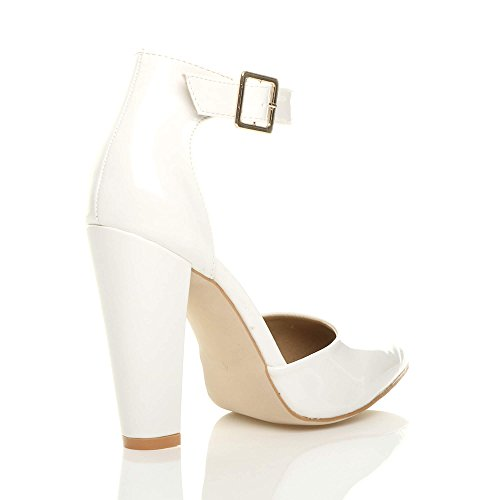 Donna tacco alto blocco cinturino caviglia fibbia punta décolleté scarpe taglia Bianco vernice