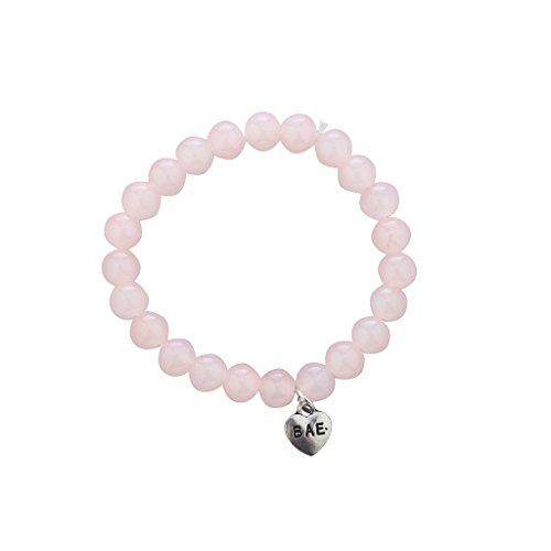 LUX Zubehör Silber Ton und rosa Perlen Stretch BAE Verbiage Charme Armband (14k Armband-charme-armband)