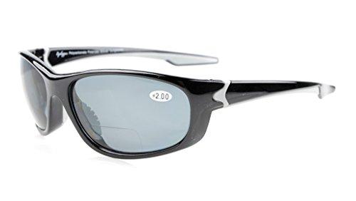 Eyekepper TR90 Unbreakable Sports Bifocal Sonnenbrillen Baseball Laufen Angeln Fahren Golf Softball Wandern Schwarzer Rahmen grau Linse +2.5