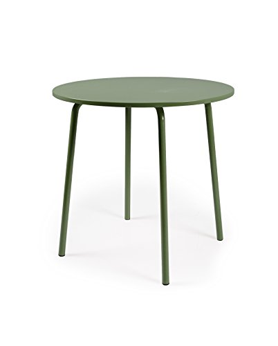 TENZO Table Ronde Panneaux MDF/métal, Vert, 90 x 90 x 76 cm