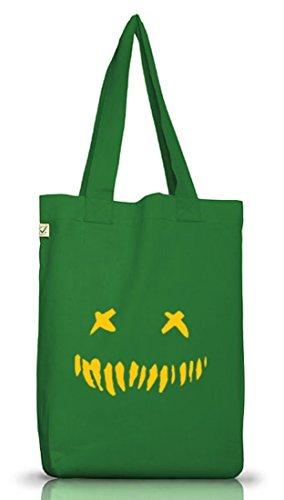 Shirtstreet24, Halloween - Horror Face, Jutebeutel Stoff Tasche Earth Positive Moss Green