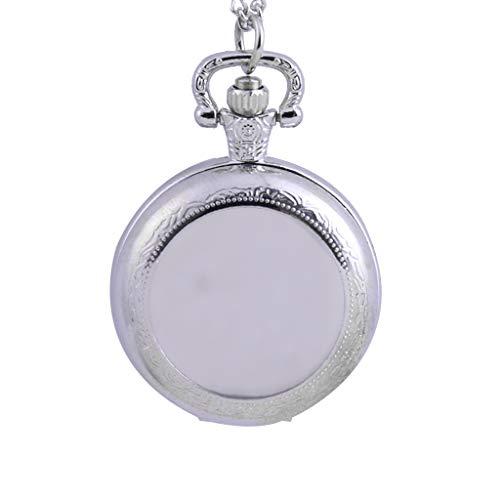 TianranRT★ Personalisierte Taschenuhr,Featured Pair Silver Groove Taschenuhr,Vielseitig,Kreative Kleiderkette,Taschenuhr,Silber (Wels Uhr)