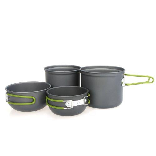 vyage (TM) nueva 2-3personas cocinar al aire libre Set anodizado de aluminio antiadherente Pot Tazón portátil al aire libre utensilios de cocina Camping Picnic senderismo