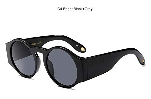 KONGYUER Sonnenbrillen, Brillen,Schwarze Graue Runde Sonnenbrille Aus Kunststoff Frauen Getönte Farbe Schwarze Designer Sonnenbrille Transparente Linse Luxus Vintage Gläser