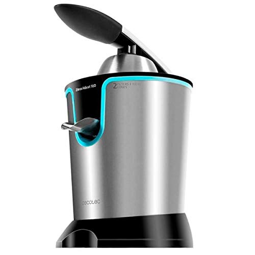 Exprimidor eléctrico de brazo para cítricos de 160 W de potencia.Incluye filtro regulador de pulpa ajustable, filtro de acero inoxidable y dos conos desmontables. Zitrus Adjust 160