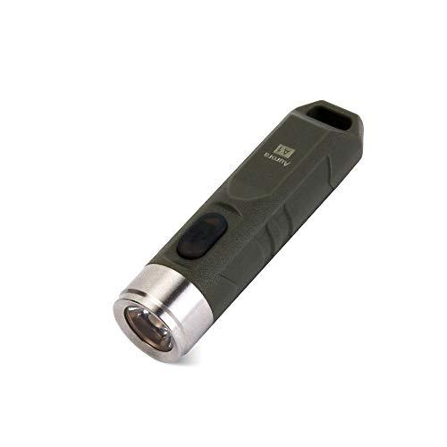 RovyVon Wiederaufladbare LED Taschenlampe, Schlüsselanhänger Taschenlampe, EDC Mini Taschenlampe für Radfahren Camping, Wandern(A1 grün) -
