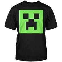 Minecraft - camiseta infantil de creeper - brilla en la oscuridad - videojuego de mundo abierto - algodón - negra - 128