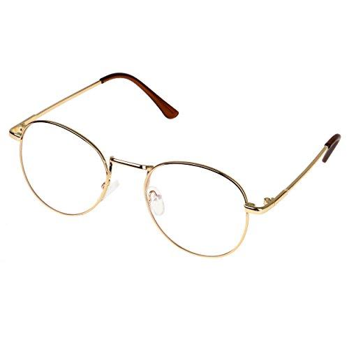 Forepin Unisex Ovale Montatura Occhiali da Vista Occhio Frame Struttura Vetri Ottici Pianura rotonda vetro Plain completa-Rim Occhiali (Stile 3)