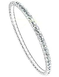 Swarovski Pulsera para Mujeres - Brazalete elástico ELEMENTS, plateado, sin niquel, l 17.30cm, PP32 Crystal F(101)