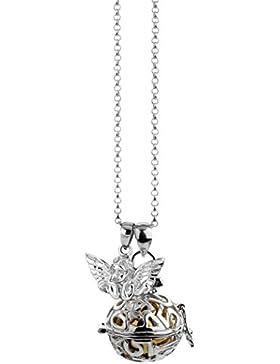 [Gesponsert]Nenalina Silber Halskette mit Engelsflüsterer Anhänger inkl. Klangkugel und Engel Flügel Anhänger | Damen Collier...