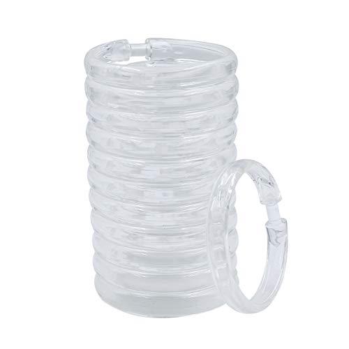 Qulable 24 Stück Duschvorhangringe Kunststoff Vorhang C-Ringe Haken Haken Badvorhänge Schlaufen Clip Glide Badezimmer Dusche Fenster Stange Set of 12,Clear (Kunststoff Dusche Vorhang)