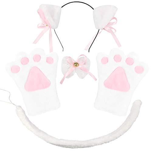 Kostüm Einfache Katze - ECOMBOS Katzen Kostüm Zubehör - Katzenohren, Fliege, cosplay für katzen Tierkostüm Adorable Party Kostüm Zubehör Cosplay Halloween Mädchen Damen Mädchen und Kinde (Katze-Weiß)